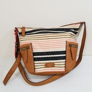 Fossil leather weaved crossbody